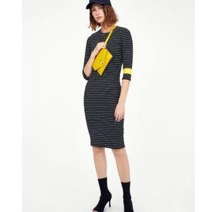 Zara Trafaluc black and yellow midi dress